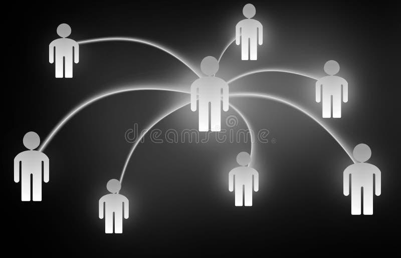 Social illustration för massmedia för nätverksbegreppsfolk vektor illustrationer