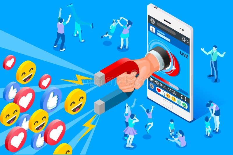 Social Influencer Concept Vector Design stock illustration