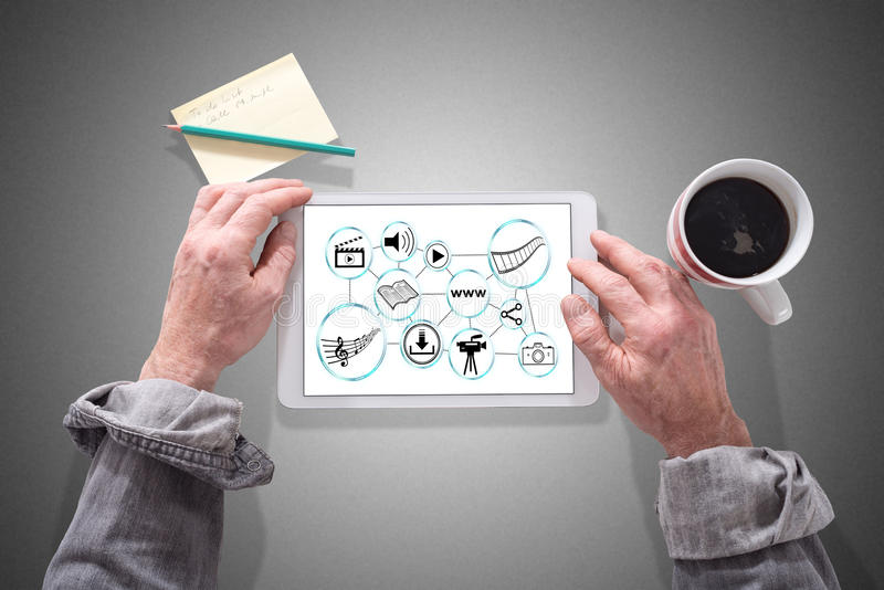 Social information sharing concept on a tablet royalty free stock photos