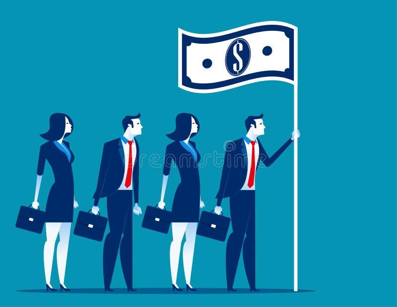 Social kapitalism Företagsledareinnehavflagga Illustration för begreppsaffärsvektor royaltyfri illustrationer