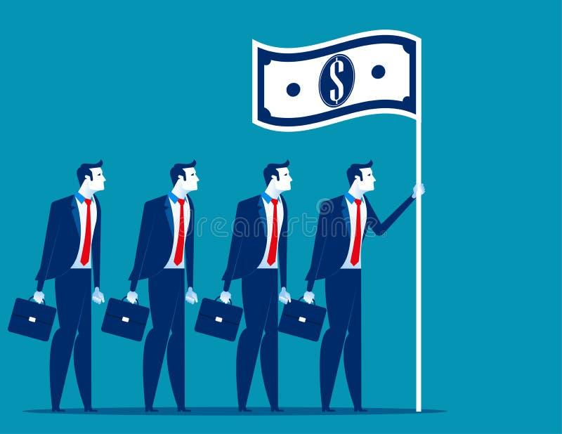 Social kapitalism Företagsledareinnehavflagga Illustration för begreppsaffärsvektor stock illustrationer
