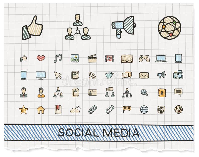 Social linje symboler för massmediahandteckning royaltyfri illustrationer