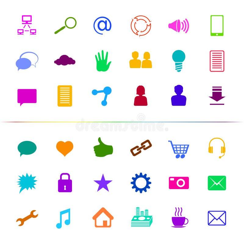 Social Mång--färg för massmediasymbolsknapp vektor illustrationer