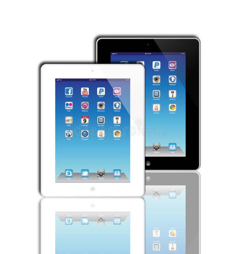 Social Madia apps on a Apple iPad 2 stock illustration