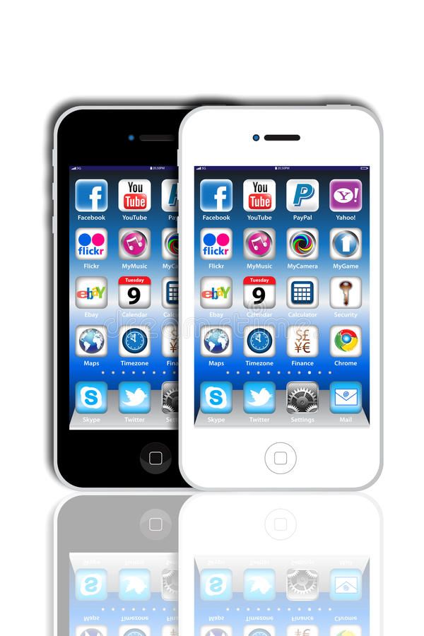 Download Social Madia Apps On A Apple IPhone 4S Editorial Stock Image - Illustration: 20085589