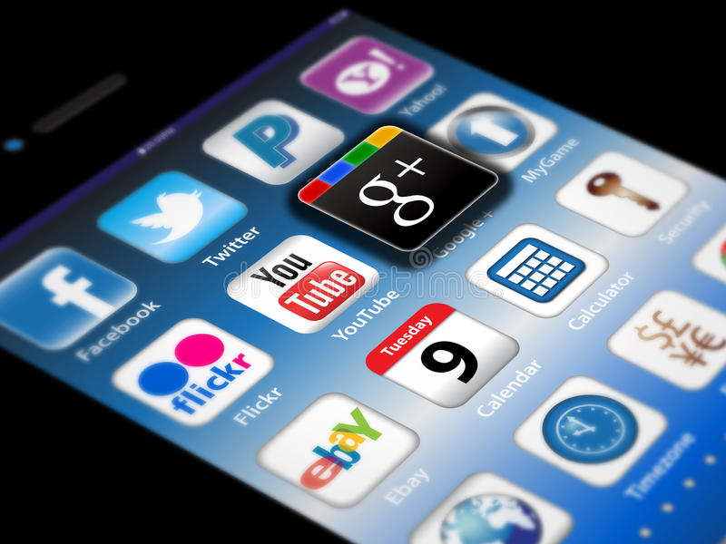 Social Madia apps on a Apple iPhone 4S stock illustration