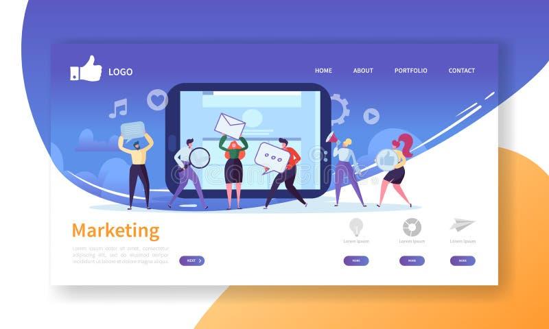 Social mall för marknadsföringslandningsida Websiteorientering med plana folktecken som annonserar Lätt att redigera royaltyfri illustrationer