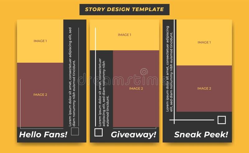 Social mall för massmediaberättelsedesign i det svarta moderna enkla sportiga temat för influencer, produkt och märkesbefordran stock illustrationer