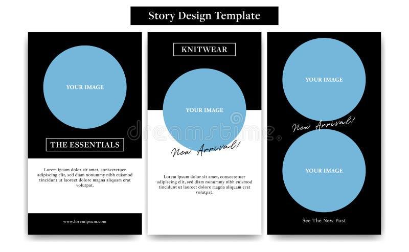 Social mall för massmediaberättelsedesign med den runda cirkelramen i svart vit klassisk stil för mode, befordran eller reklambla royaltyfri illustrationer