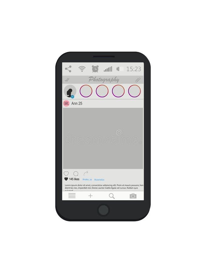 Social mall för nätverksfotoram Mobilen ringer vektor Smart telefonskärm Foto-dela på smartphonen stock illustrationer