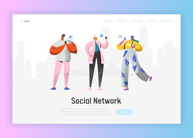 Social mall för nätverkslandningsida Ungdomartecken som pratar genom att använda Smartphone för Website eller webbsida royaltyfri illustrationer