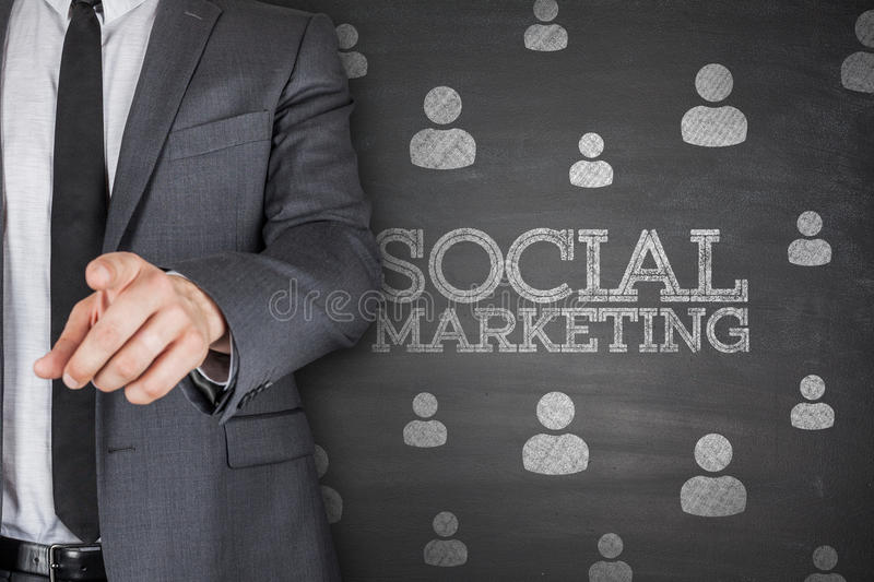 Social marketing on blackboard stock photography
