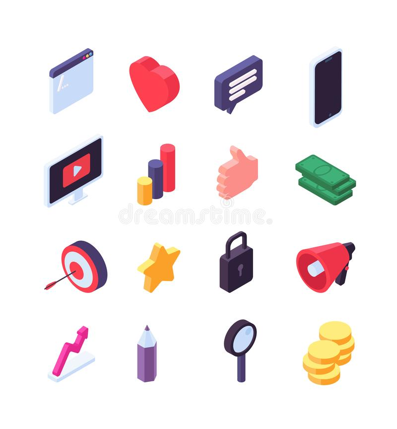 Social marketing isometric icons. Media message and search 3d social network signs. Video, internet and music vector stock illustration