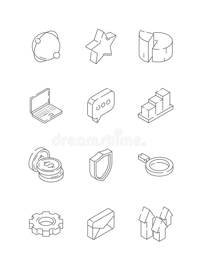 Social marketing isometric. Web media symbols graphs like ratio hearts mail thin line icon royalty free illustration