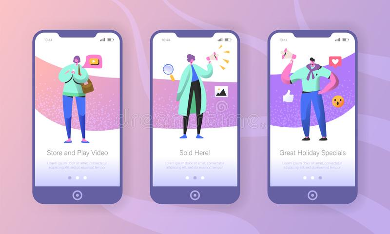 Social marketing onboarding mobile app screens. Man and woman characters promoting online in social network using smartphone and megaphone for website or web vector illustration