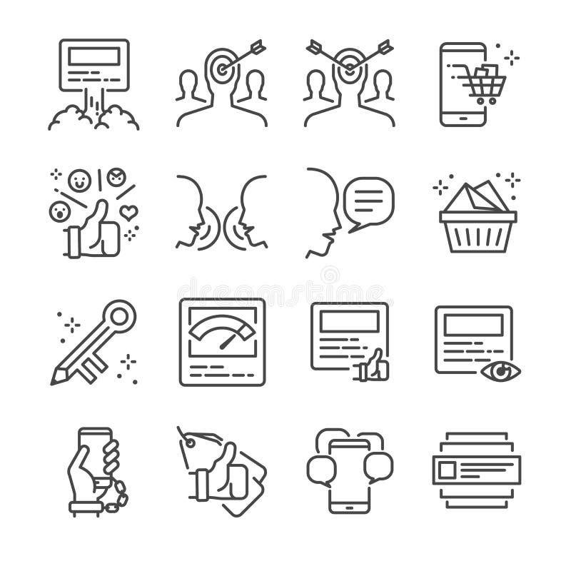 Social marknadsföringslinje symbolsuppsättning Inklusive symbolerna som ökningsstolpen, virus-, att marknadsföra, nyckelord, åhör vektor illustrationer