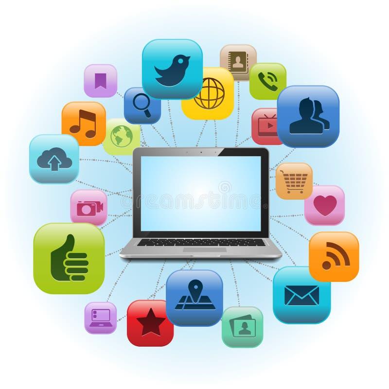 Social massmediabärbar dator stock illustrationer
