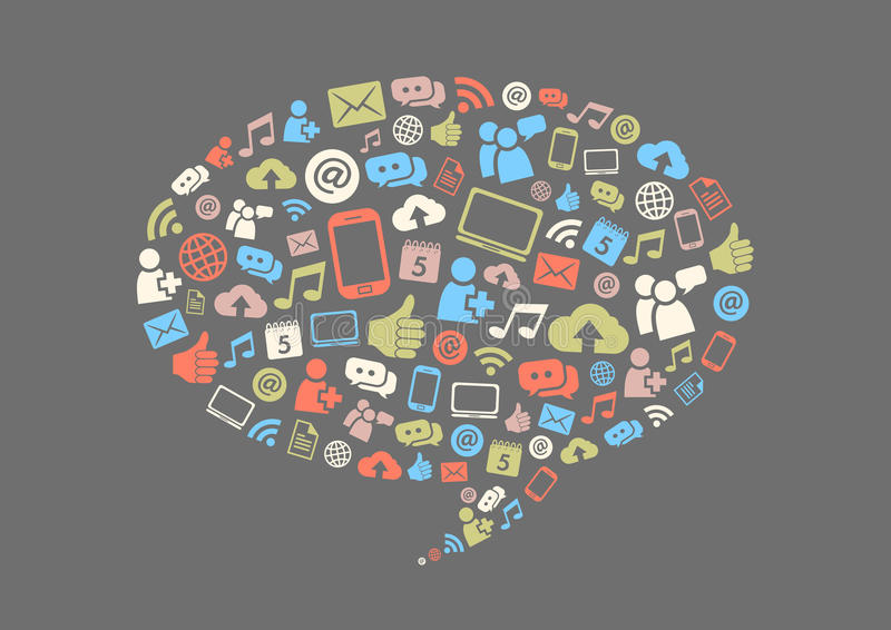 Social massmediabakgrund stock illustrationer