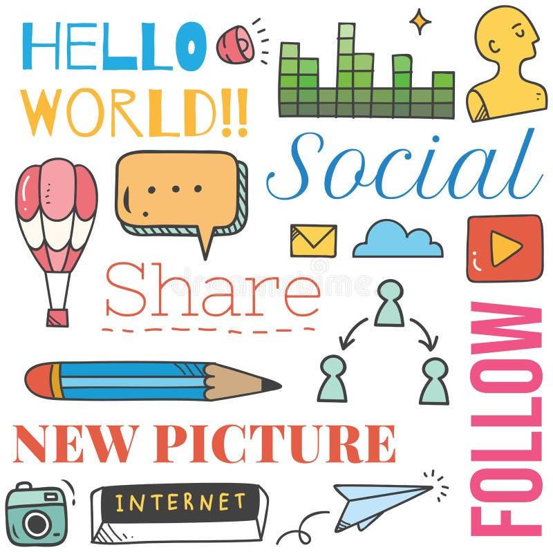 Social massmediabakgrund i illustration f?r klotterstilvektor stock illustrationer