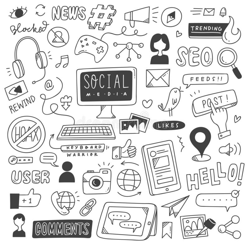 Social massmediabakgrund i illustration f?r klotterstilvektor stock illustrationer