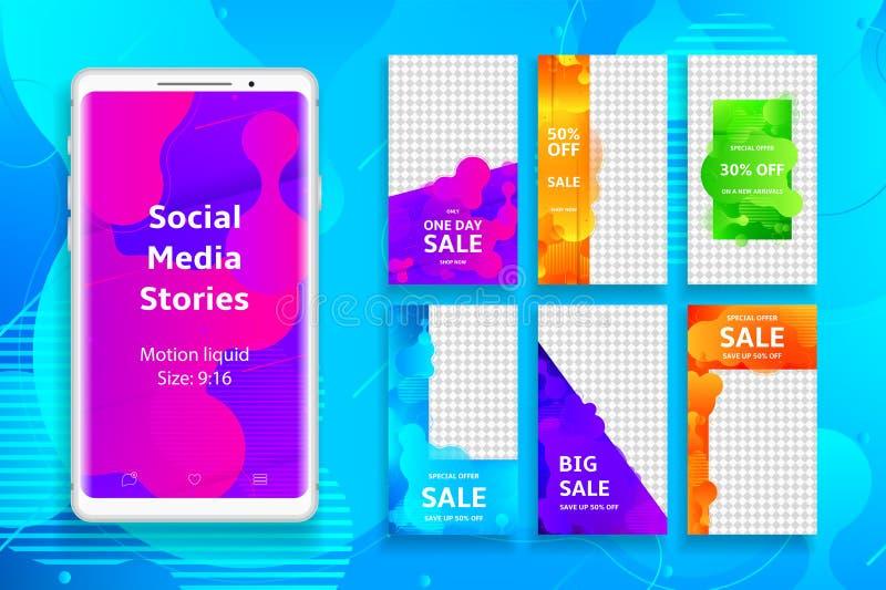 Social massmediaberättelsemall stock illustrationer