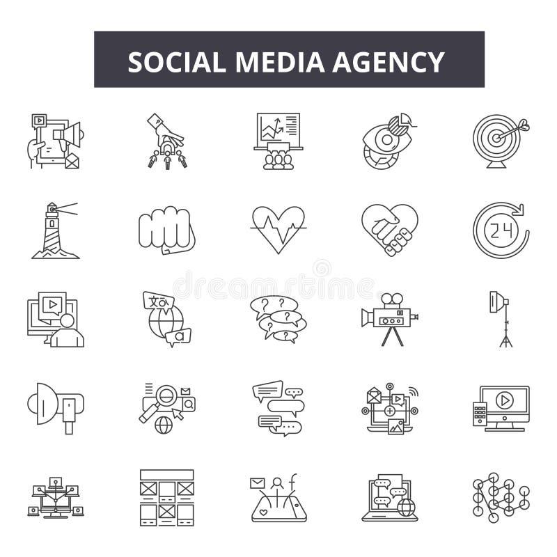 Social massmediabyrålinje symboler, tecken, vektoruppsättning, översiktsillustrationbegrepp royaltyfri illustrationer