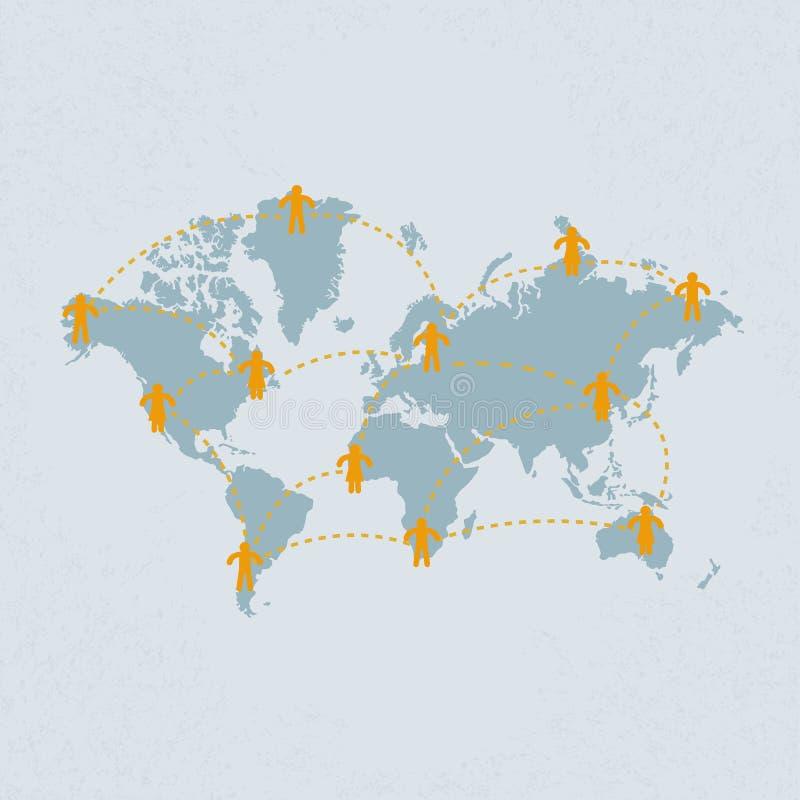Social massmediafolkkommunikation på världskartan. vect för eps 10 stock illustrationer