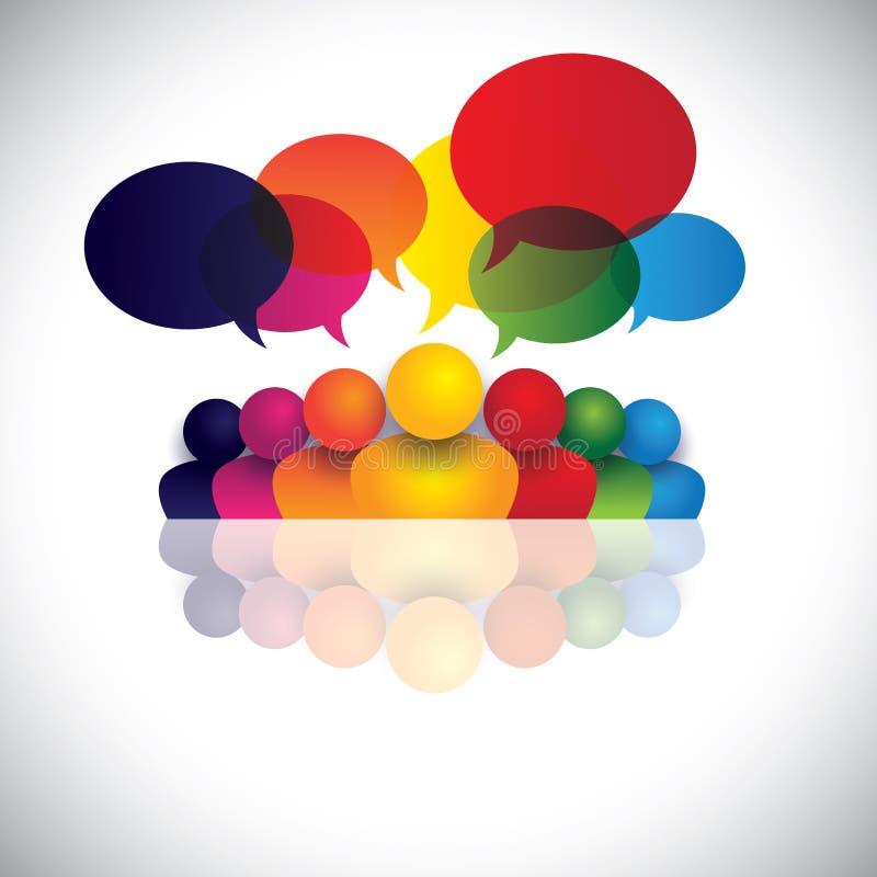 Social massmediakommunikation eller möte för kontorspersonal royaltyfri illustrationer