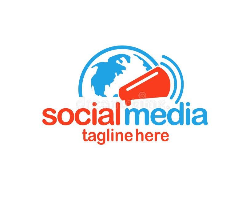 Social massmedialogo-, jordklot- och megafonlogo royaltyfri illustrationer