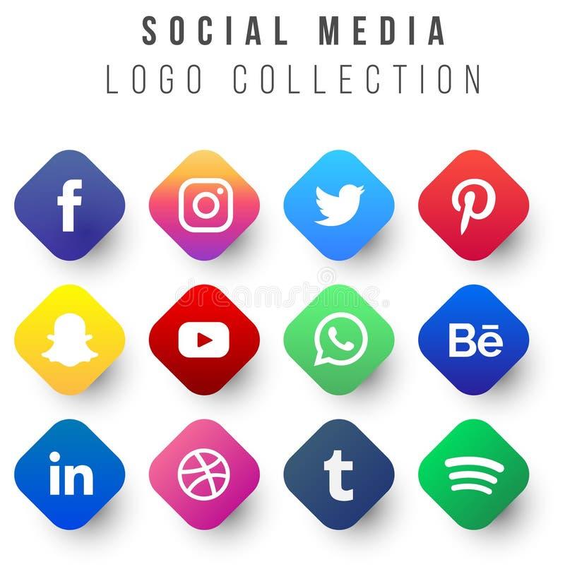 Social massmedialogosamling: de sociala konungarna vektor illustrationer