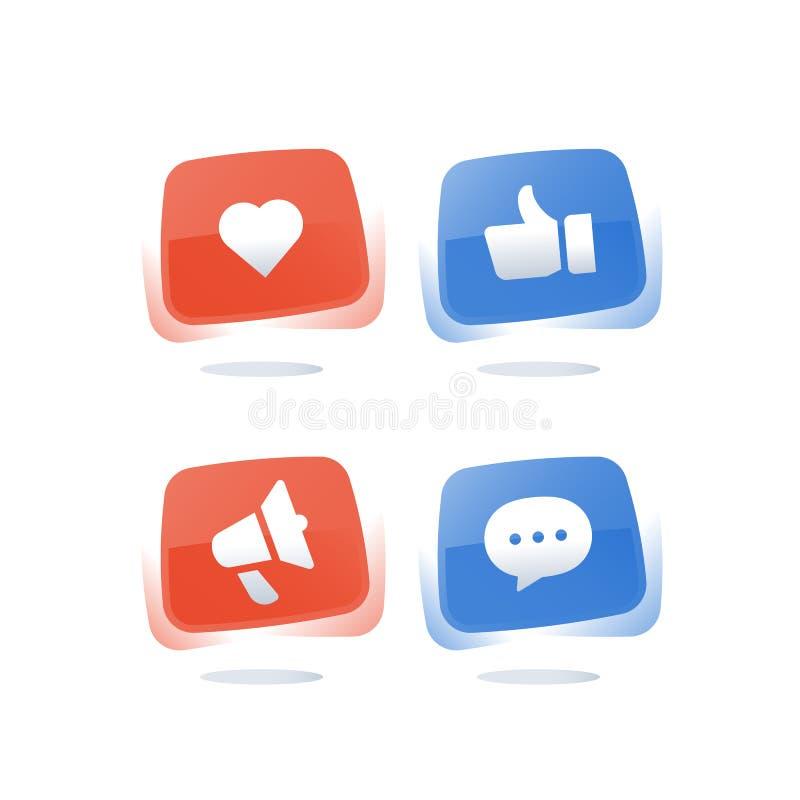 Social massmediamarknadsföring, tumme upp knappen, online-messaging, vektorsymbolsuppsättning royaltyfri illustrationer