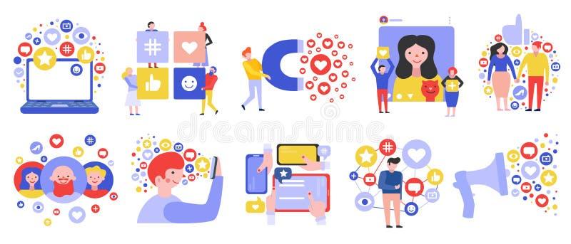 Social massmedianätverksuppsättning royaltyfri illustrationer