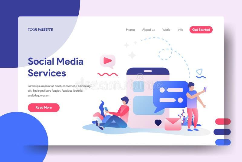 Social massmediaservice för illustration royaltyfri illustrationer