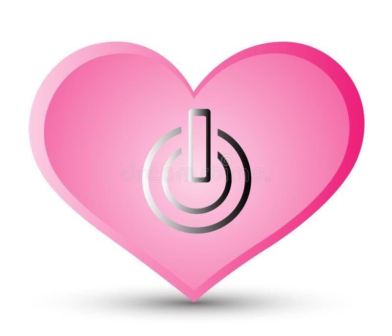 'Social massmediasymbol i hjärtastil, vektormaktknapp för grafisk design i begreppet av förälskelse Hjärtaenergisymbol blandninge vektor illustrationer