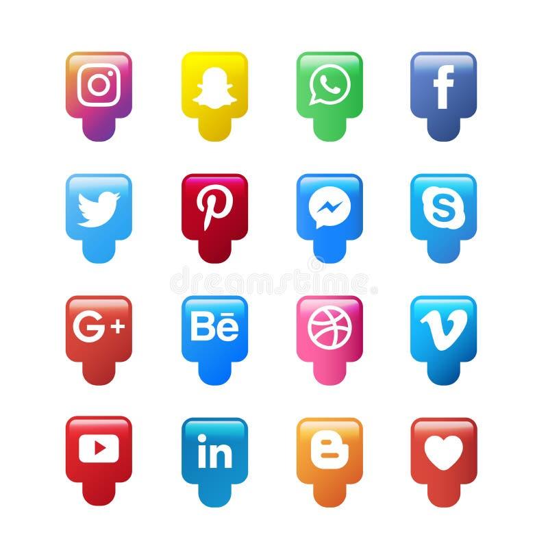 Social massmediasymbolssamling royaltyfri illustrationer