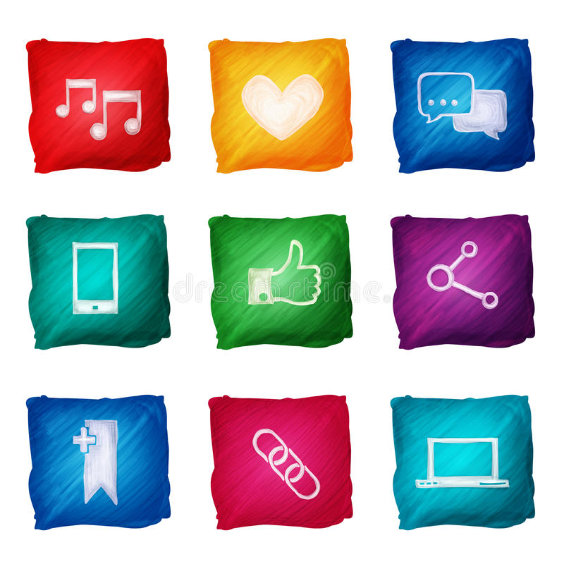 Social massmediasymbolsvattenfärg vektor illustrationer