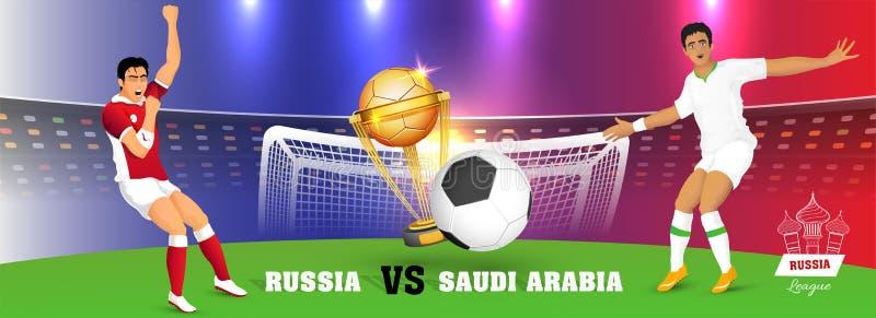 Social massmediatitelrad- eller banerdesign av den ryska fotbollligan royaltyfri illustrationer
