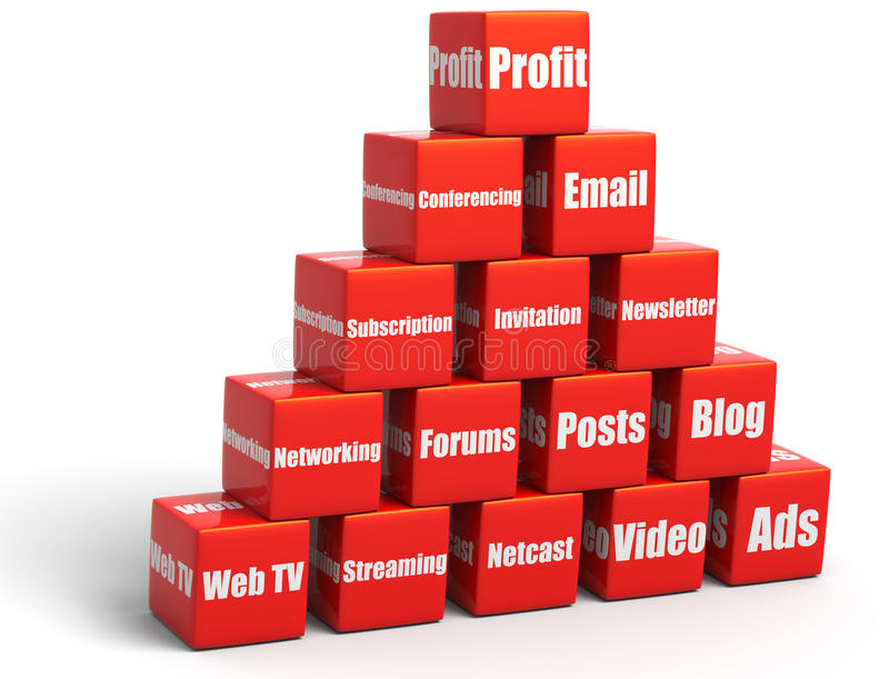 Social Media. 3D illustration of red cubes representing various social media, arranged in a pyramid with profit on top, isolated in white background stock illustration
