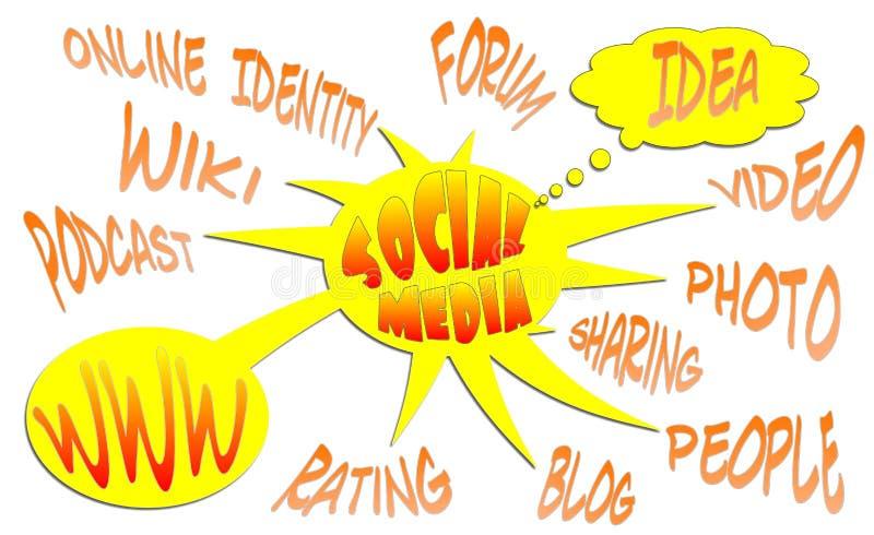 Social Media. Chart on white background stock illustration