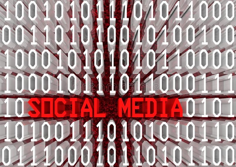 Social Media. And binary code 3d text sequence in perspective view. Part of a series vector illustration