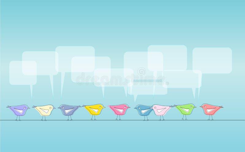 Social media. Illustration, tweeting birds, free copy space royalty free illustration