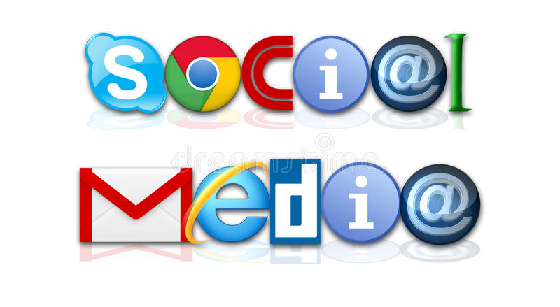 Social media. Words social media made with famous internet related icons and symbols. Isolated on white, raster illustration