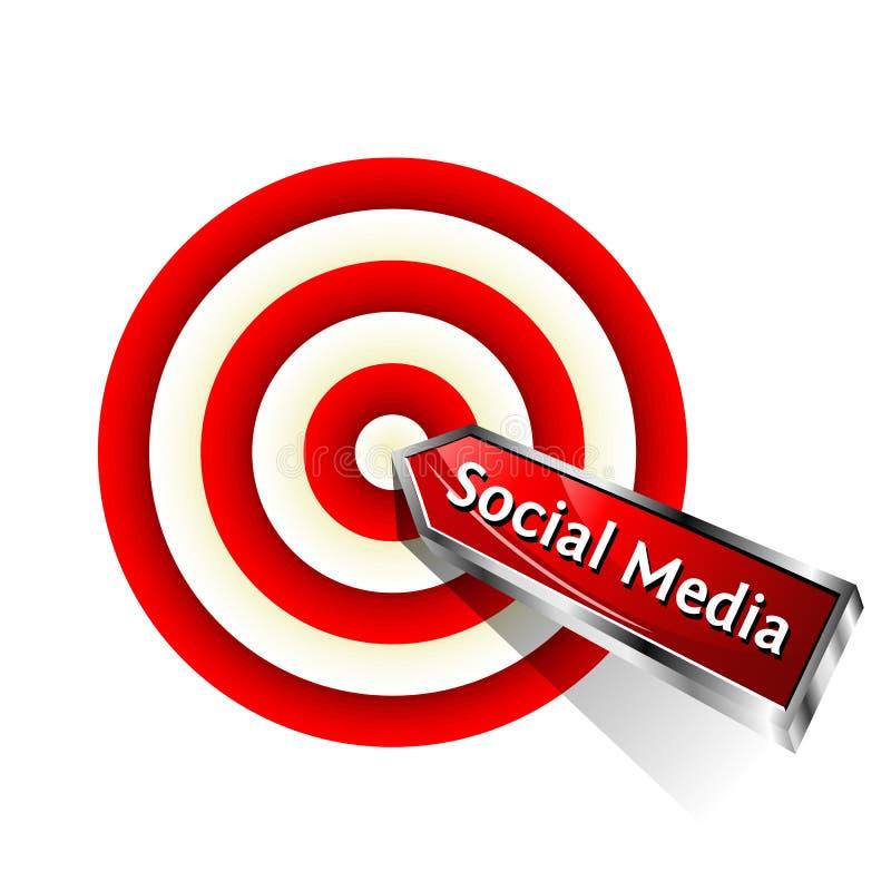Social Media. Concept. Red dart hitting a target. Vector sign stock illustration