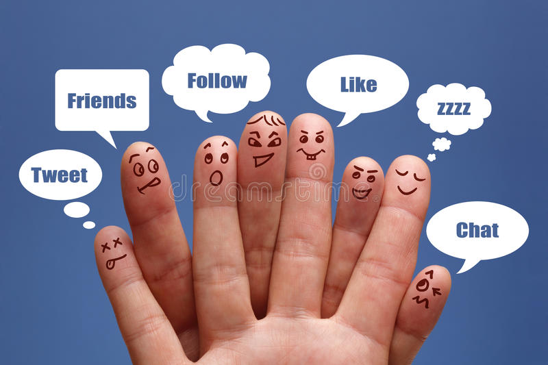 Social media. Social network concept finger people in discussion with speech bubbles