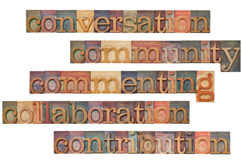 Social media 5C concept. Conversation, community, commenting, collaboration, contribution - social media 5C concept - a collage of isolated words in vintage wood
