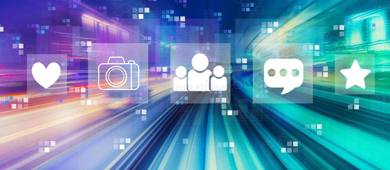 Social media with high speed motion blur stock illustration
