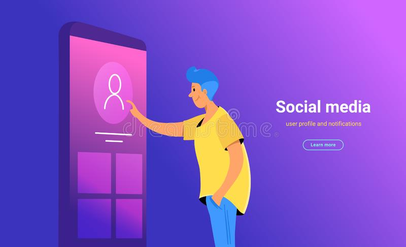 Social media account profile updating stock illustration