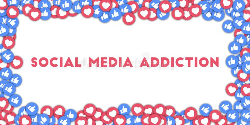 Social media addiction. Social media icons in abstract shape background with scattered thumbs up and hearts. MAY 01, 2018: Social media addiction. Social media vector illustration