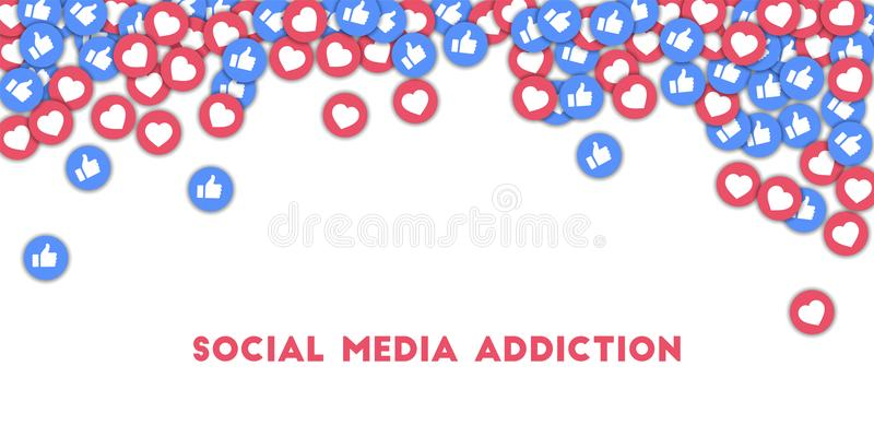 Social media addiction. Social media icons in abstract shape background with scattered thumbs up and. MAY 01, 2018: Social media addiction. Social media icons in royalty free illustration