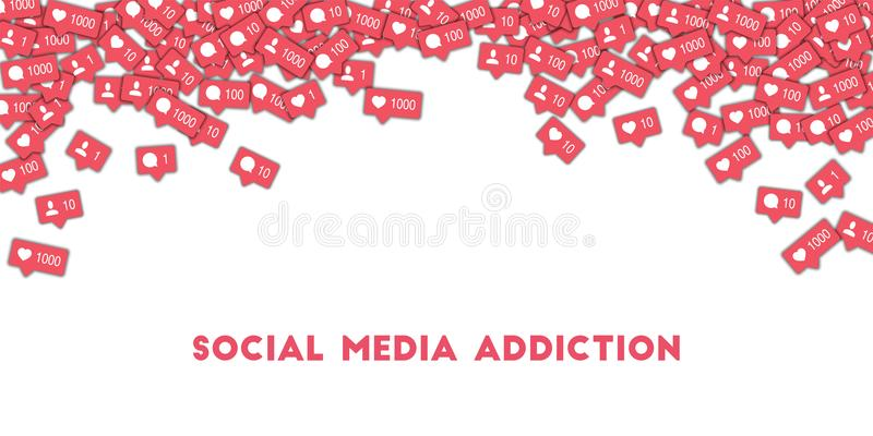 Social media addiction. Social media icons in abstract shape background with counter, comment and friend notification. Social media addiction concept in vector illustration